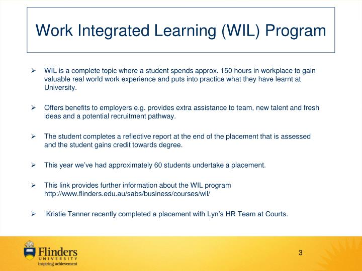 Work integrated learning wil program