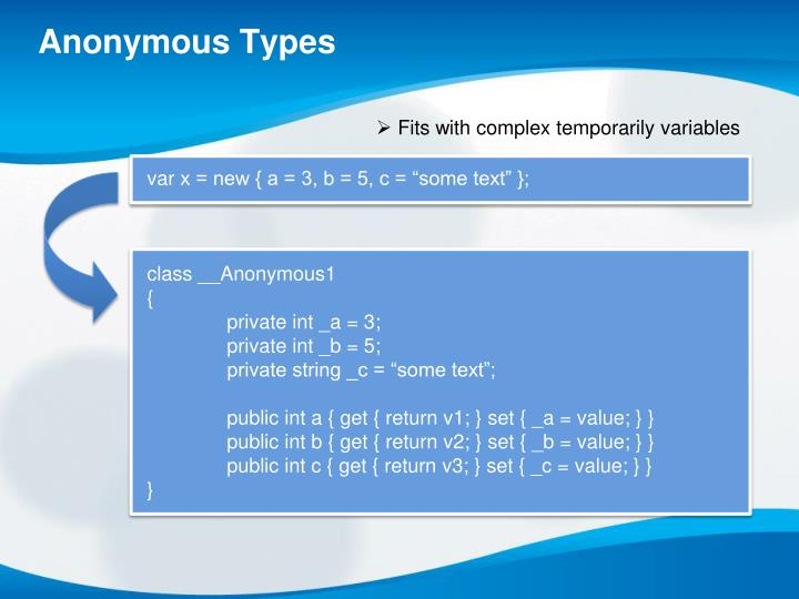 Anonymous Types