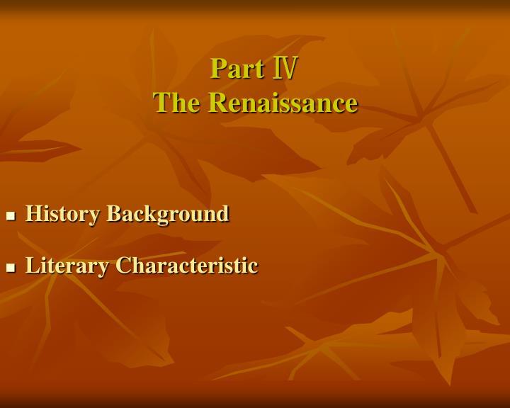 Part the renaissance