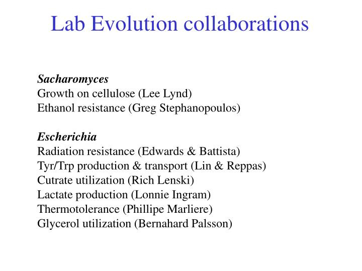 Lab Evolution collaborations