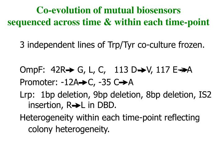 Co-evolution of mutual biosensors