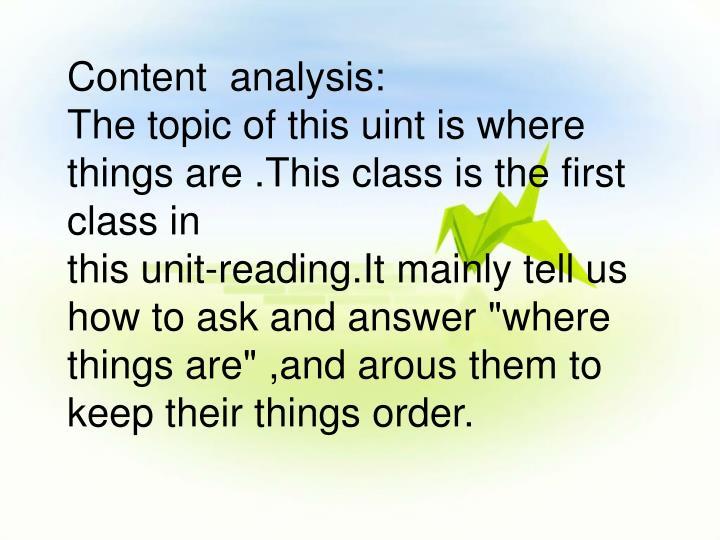 Content  analysis: