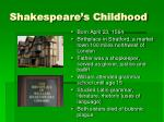 shakespeare s childhood