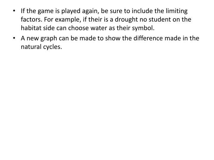If the game is played again, be sure to include the limiting factors. For example, if their is a drought no student on the habitat side can choose water as their symbol.