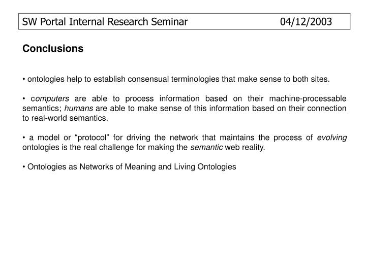 SW Portal Internal Research Seminar  		            04/12/2003