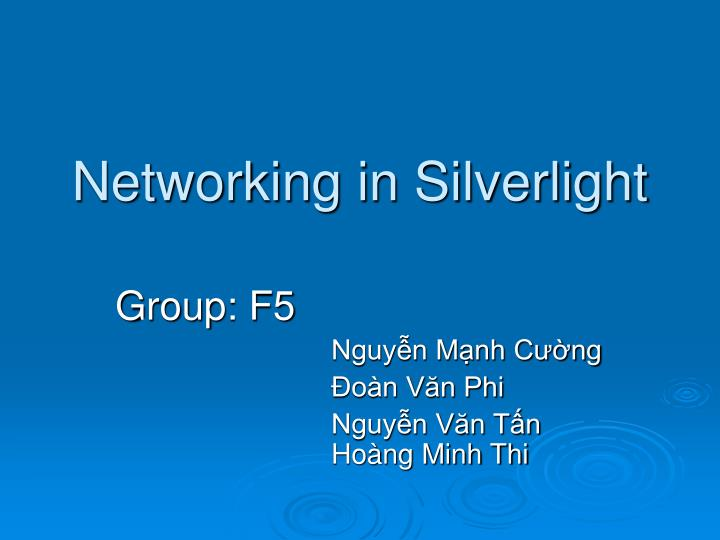 networking in silverlight n.