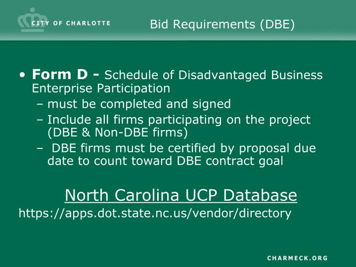 Bid Requirements (DBE)