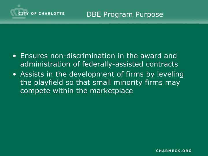 DBE Program Purpose