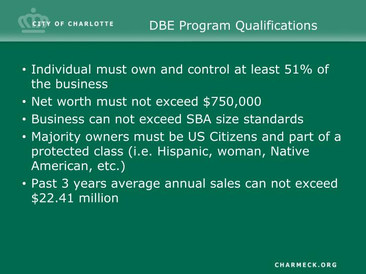 DBE Program Qualifications
