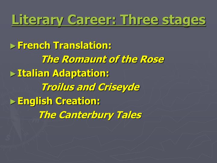 Literary Career: Three stages