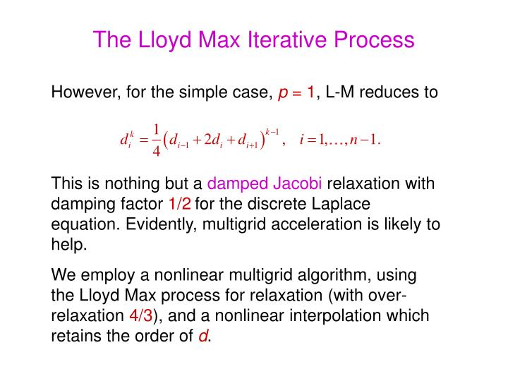 The Lloyd Max Iterative Process