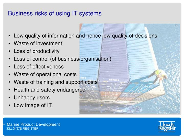 Business risks of using IT systems