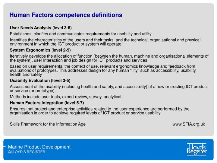 Human Factors competence definitions