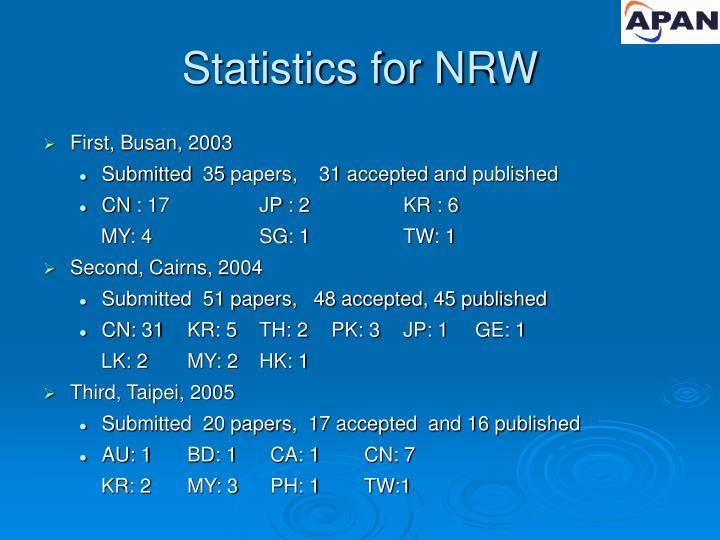 Statistics for NRW