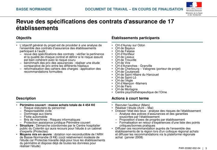 Revue des sp cifications des contrats d assurance de 17 tablissements