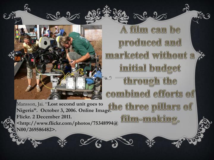 A film can be produced and marketed without a initial budget through the combined efforts of the thr...