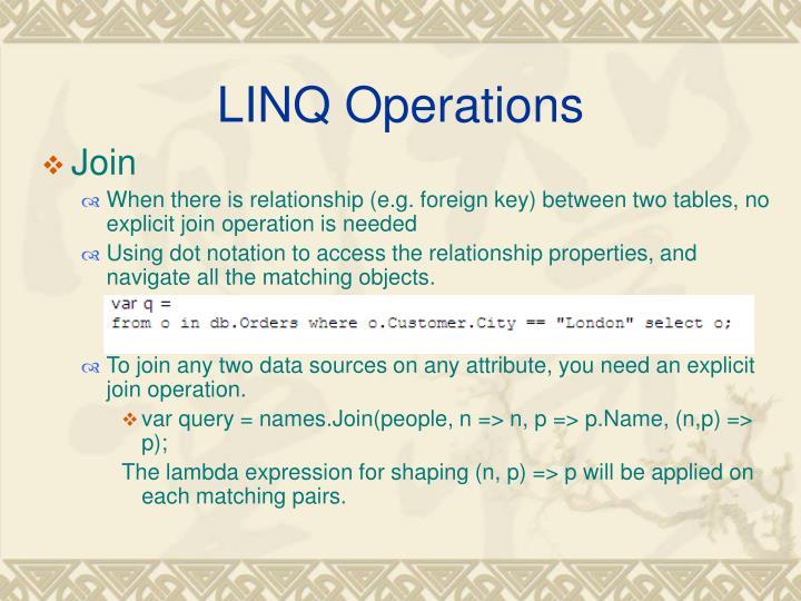 LINQ Operations