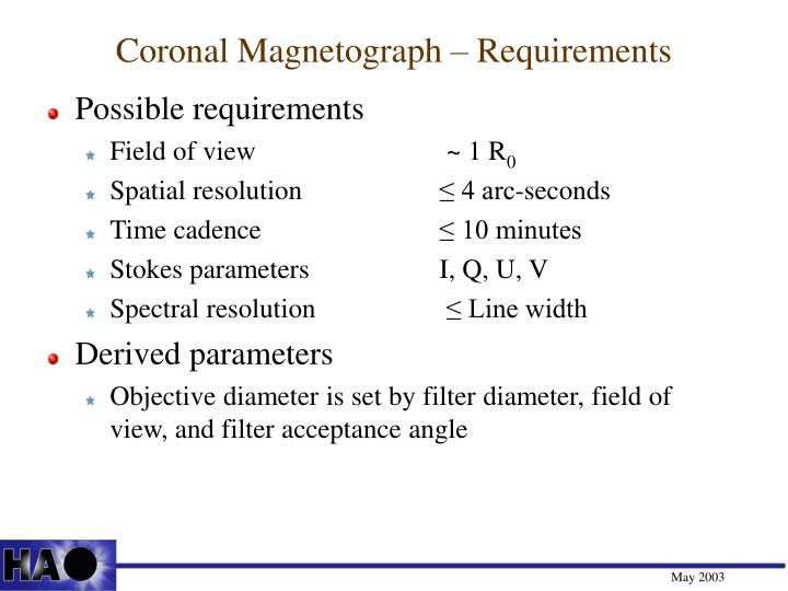 Coronal Magnetograph – Requirements