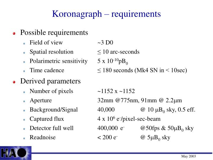 Koronagraph – requirements