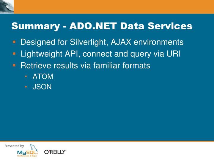 Summary - ADO.NET Data Services