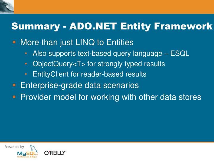 Summary - ADO.NET Entity Framework