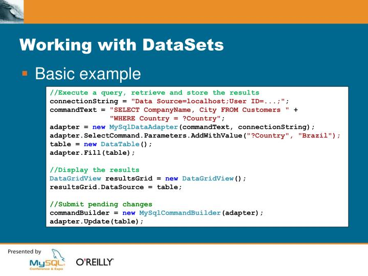 Working with datasets