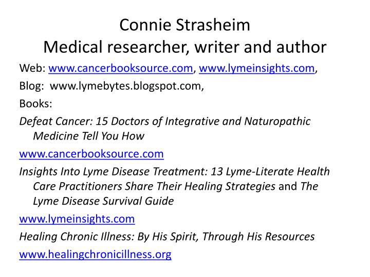 connie strasheim medical researcher writer and author