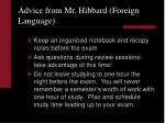 advice from mr hibbard foreign language
