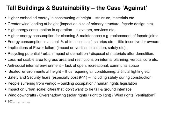 Tall Buildings & Sustainability – the Case 'Against'