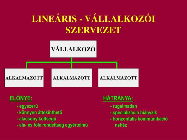 LINEÁRIS - VÁLLALKOZÓI