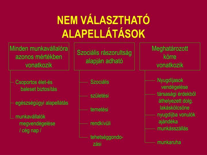 NEM VÁLASZTHATÓ ALAPELLÁTÁSOK