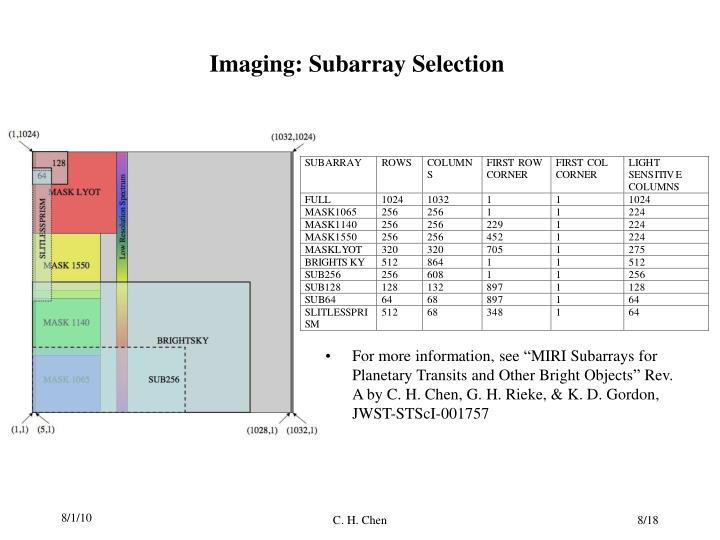 Imaging: Subarray Selection
