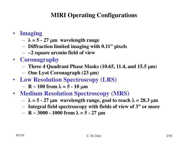 Miri operating configurations