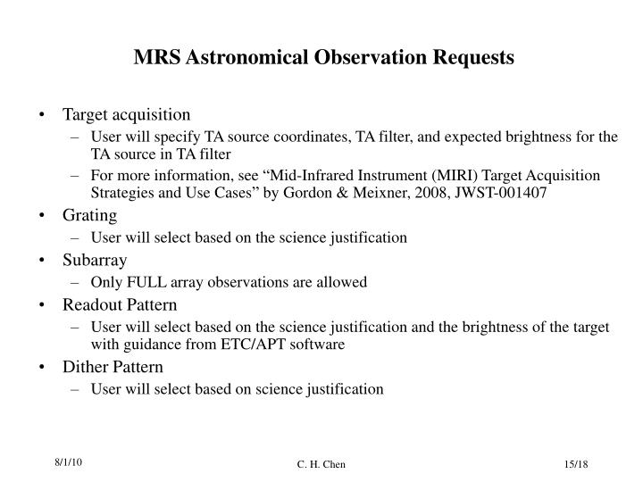 MRS Astronomical Observation Requests