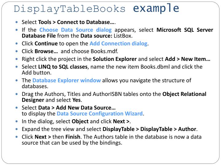 Displaytablebooks example