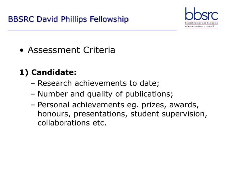 BBSRC David Phillips Fellowship