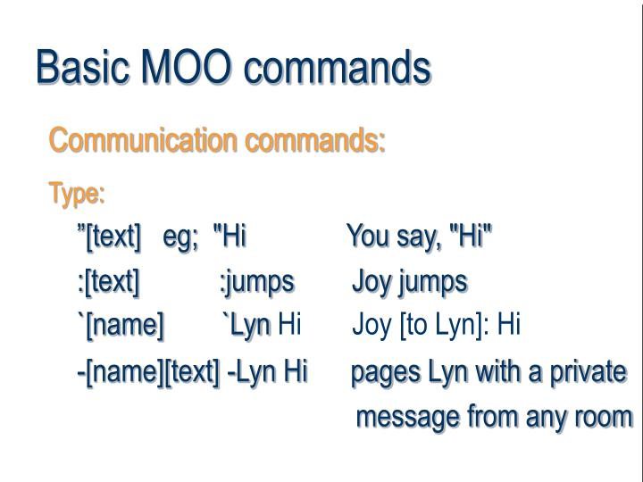 Basic MOO commands