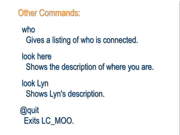Other Commands: