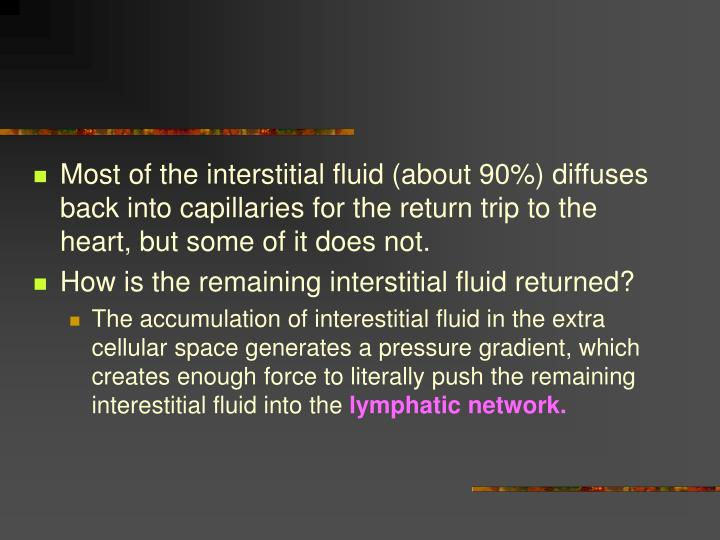 Most of the interstitial fluid (about 90%) diffuses back into capillaries for the return trip to the heart, but some of it does not.