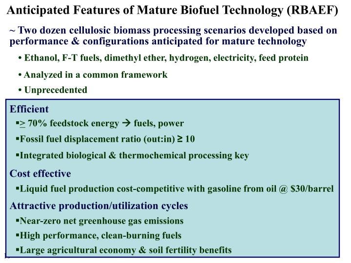 Anticipated Features of Mature Biofuel Technology (RBAEF)