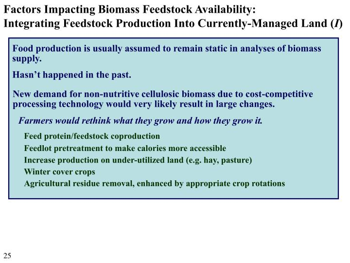 Factors Impacting Biomass Feedstock Availability:
