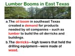 lumber booms in east texas