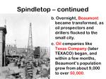 spindletop continued