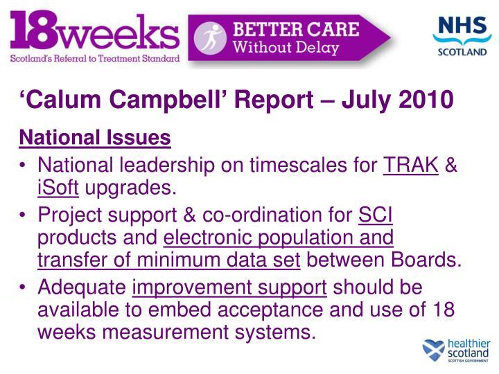 'Calum Campbell' Report – July 2010