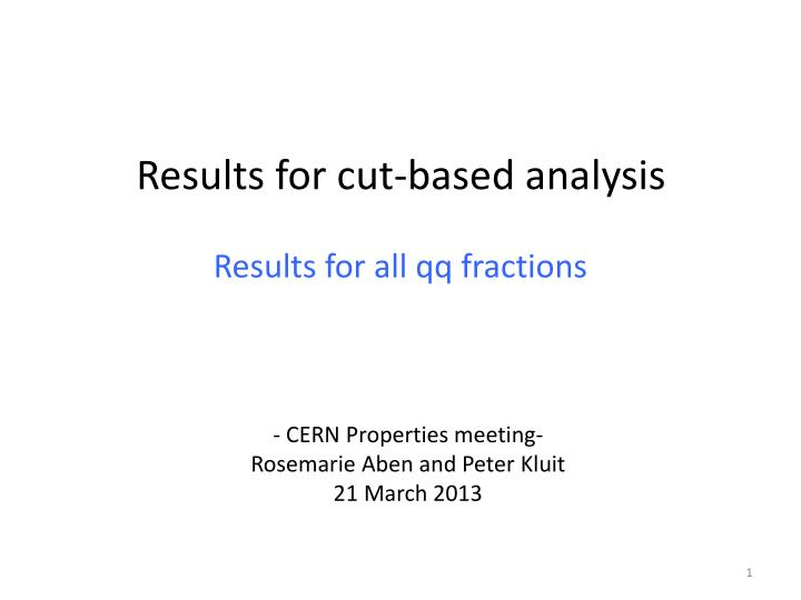 results for cut based analysis n.