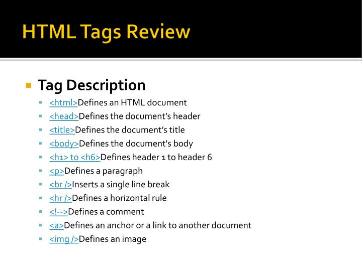 HTML Tags Review