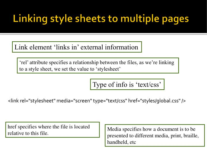Linking style sheets to multiple pages
