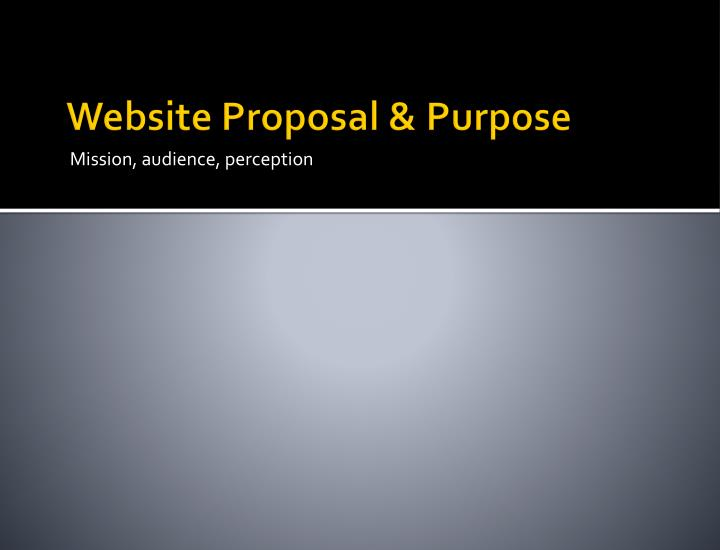 Website proposal purpose