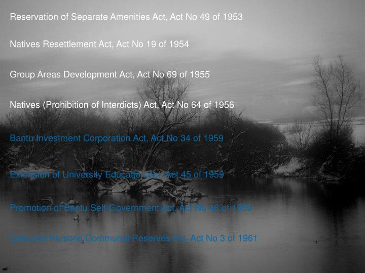 Reservation of Separate Amenities Act, Act No 49 of 1953