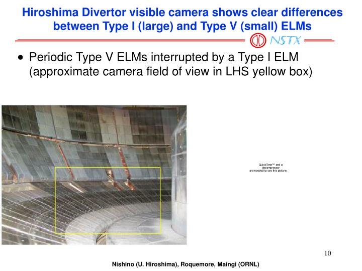 Hiroshima Divertor visible camera shows clear differences between Type I (large) and Type V (small) ELMs